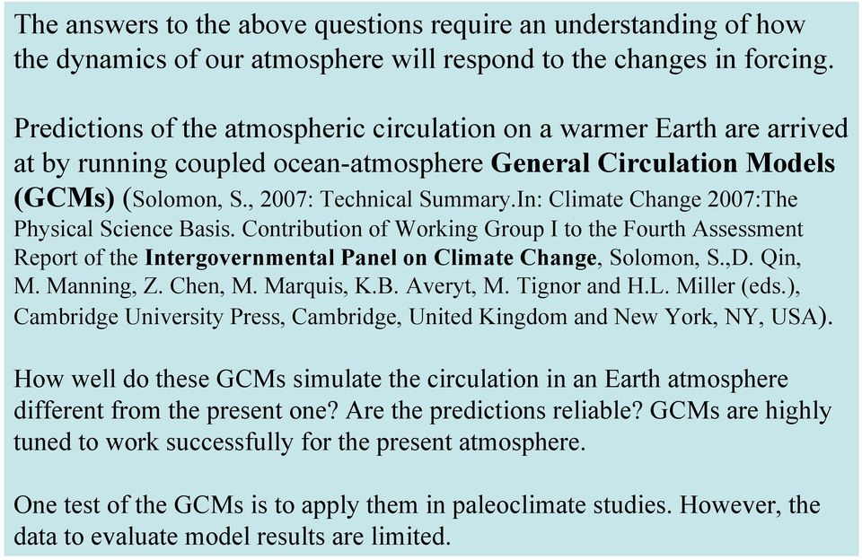 In: Climate Change 2007:The Physical Science Basis. Contribution of Working Group I to the Fourth Assessment Report of the Intergovernmental Panel on Climate Change, Solomon, S.,D. Qin, M. Manning, Z.