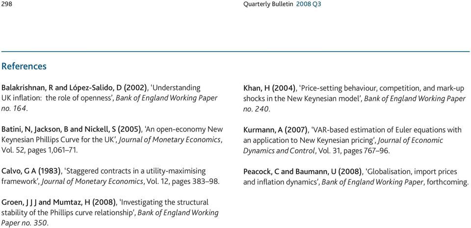 Calvo, G A (1983), Saggered conrac in a uiliy-maximiing framework, Journal of Moneary Economic, Vol. 12, page 383 98.
