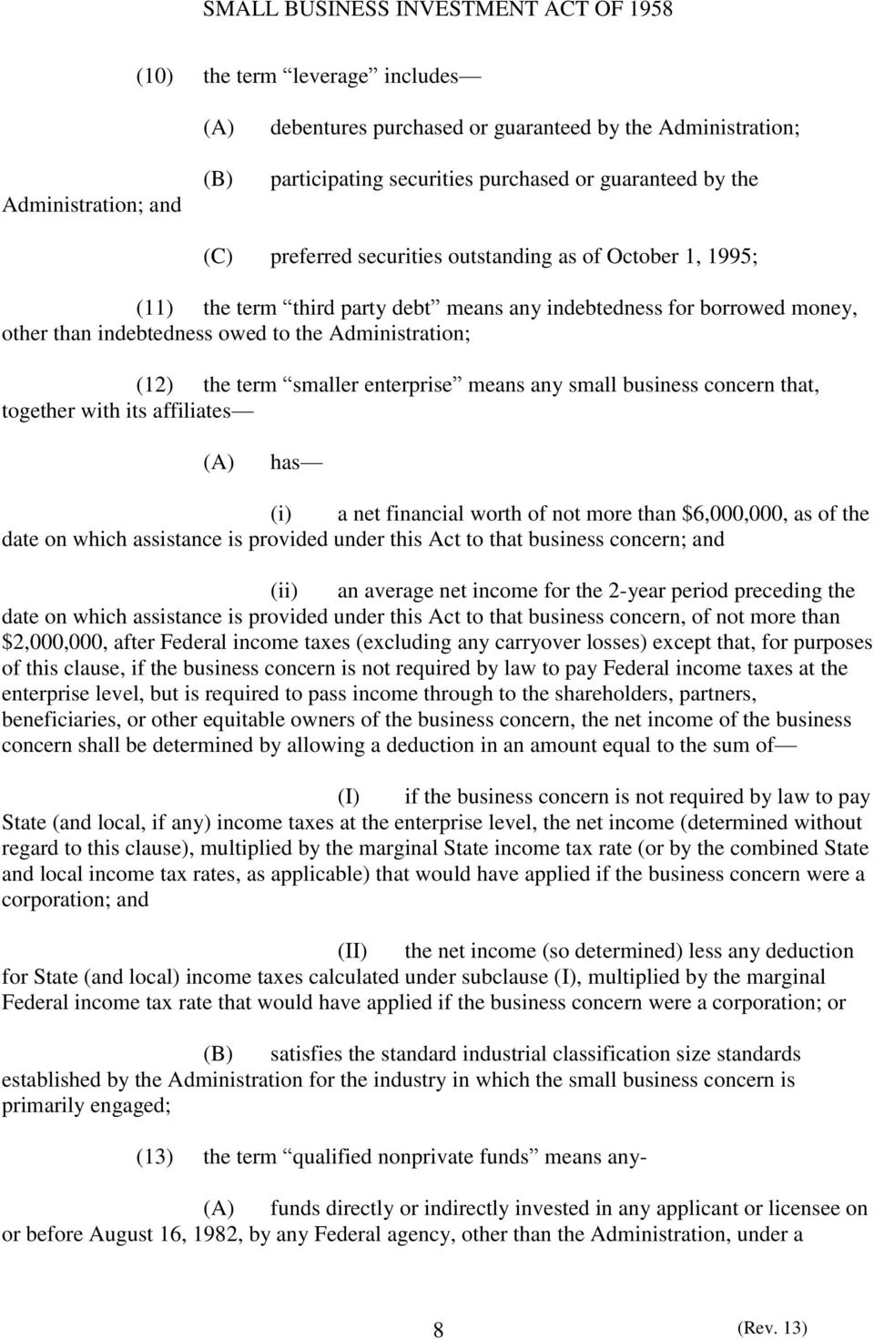 any small business concern that, together with its affiliates (A) has (i) a net financial worth of not more than $6,000,000, as of the date on which assistance is provided under this Act to that