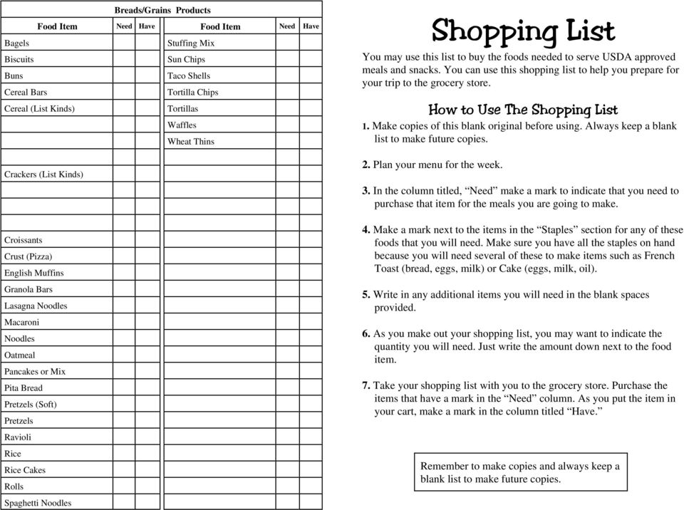 USDA approved meals and snacks. You can use this shopping list to help you prepare for your trip to the grocery store. How to Use The Shopping List 1. Make copies of this blank original before using.