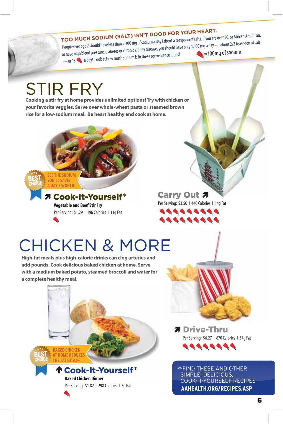Look at how much sodium is in these convenience foods! =100mg of sodium. STIR FRY Cooking a stir fry at home provides unlimited options! Try with chicken or your favorite veggies.