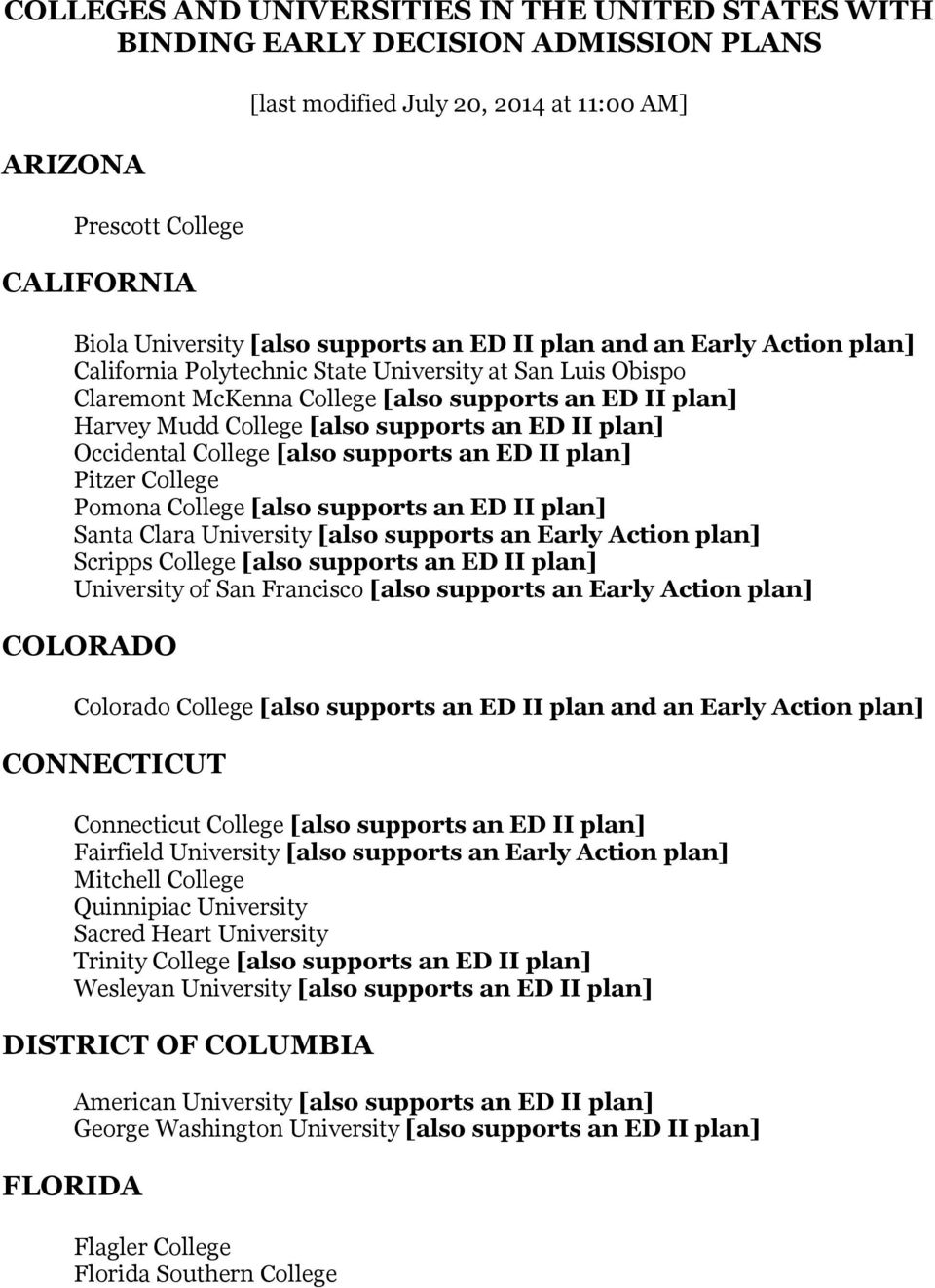 an ED II plan] Occidental College [also supports an ED II plan] Pitzer College Pomona College [also supports an ED II plan] Santa Clara University [also supports an Early Action plan] Scripps College