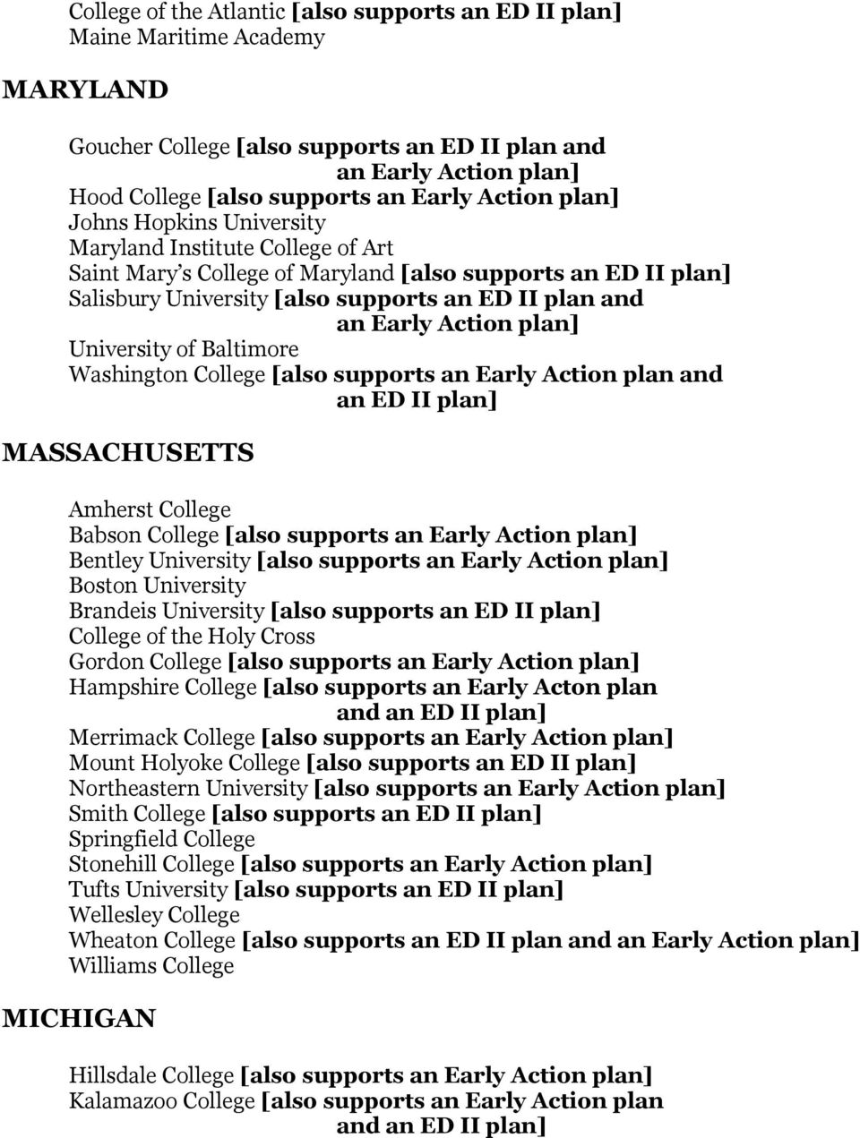 Action plan] University of Baltimore Washington College [also supports an Early Action plan and an ED II plan] MASSACHUSETTS Amherst College Babson College [also supports an Early Action plan]