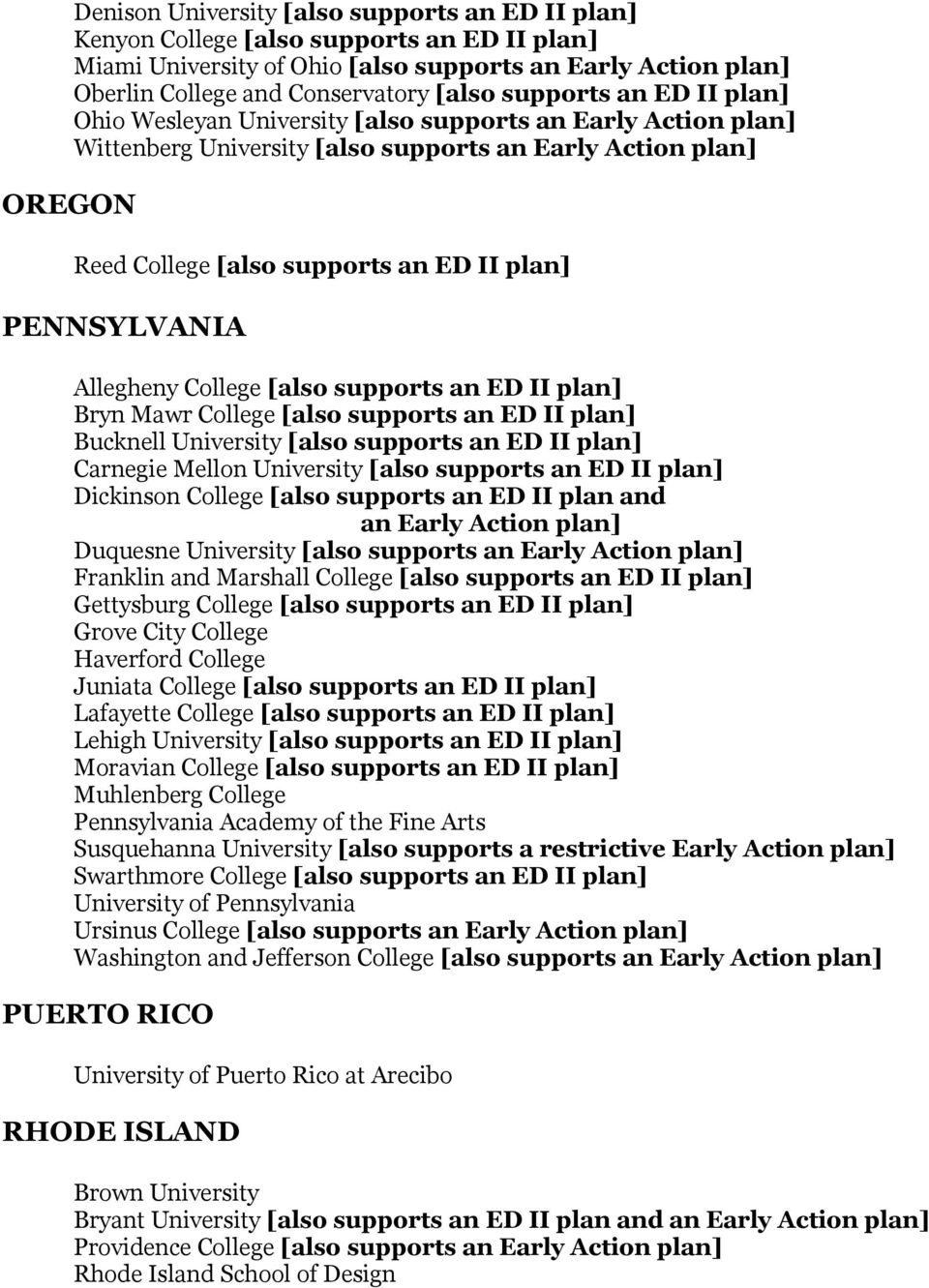 PENNSYLVANIA Allegheny College [also supports an ED II plan] Bryn Mawr College [also supports an ED II plan] Bucknell University [also supports an ED II plan] Carnegie Mellon University [also