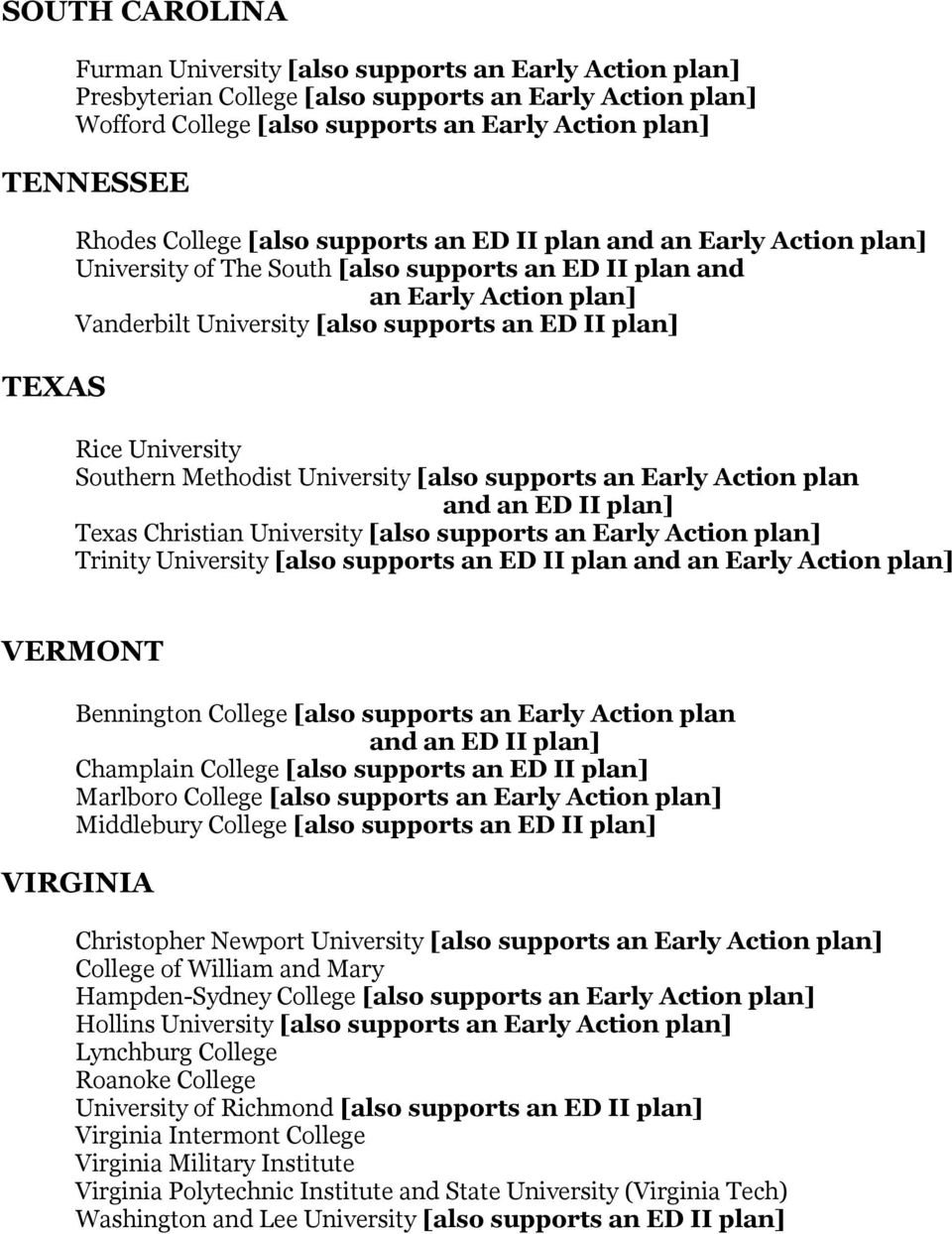 plan] Rice University Southern Methodist University [also supports an Early Action plan Texas Christian University [also supports an Early Action plan] Trinity University [also supports an ED II plan