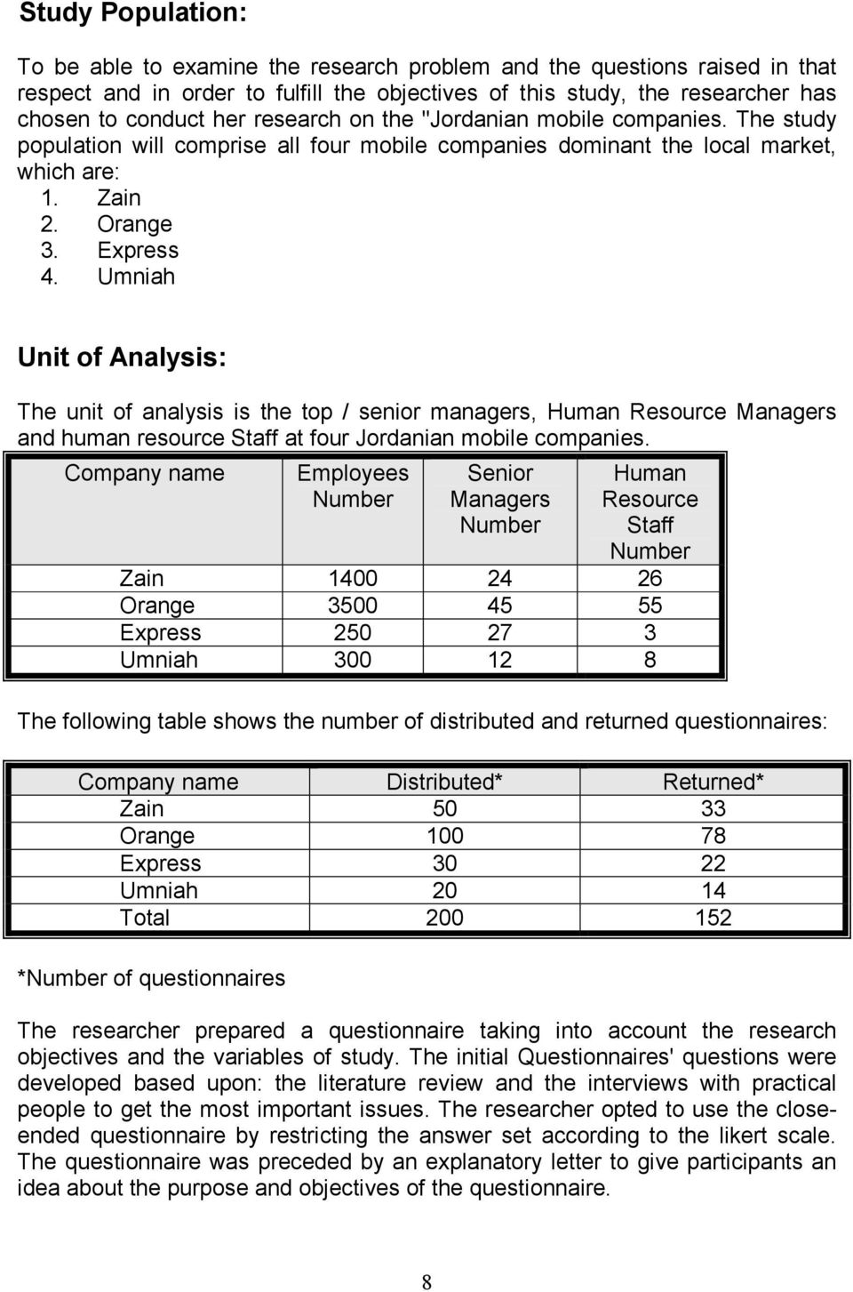 Umniah Unit of Analysis: The unit of analysis is the top / senior managers, Human Resource Managers and human resource Staff at four Jordanian mobile companies.