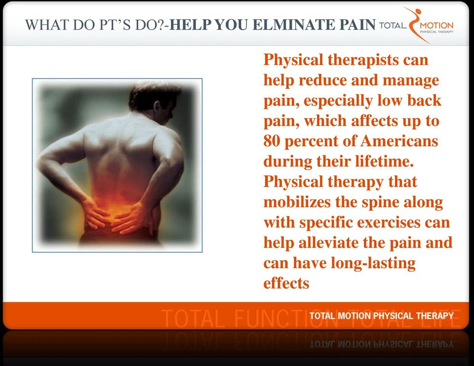 especially low back pain, which affects up to 80 percent of Americans during