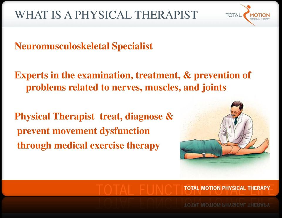 related to nerves, muscles, and joints Physical Therapist treat,