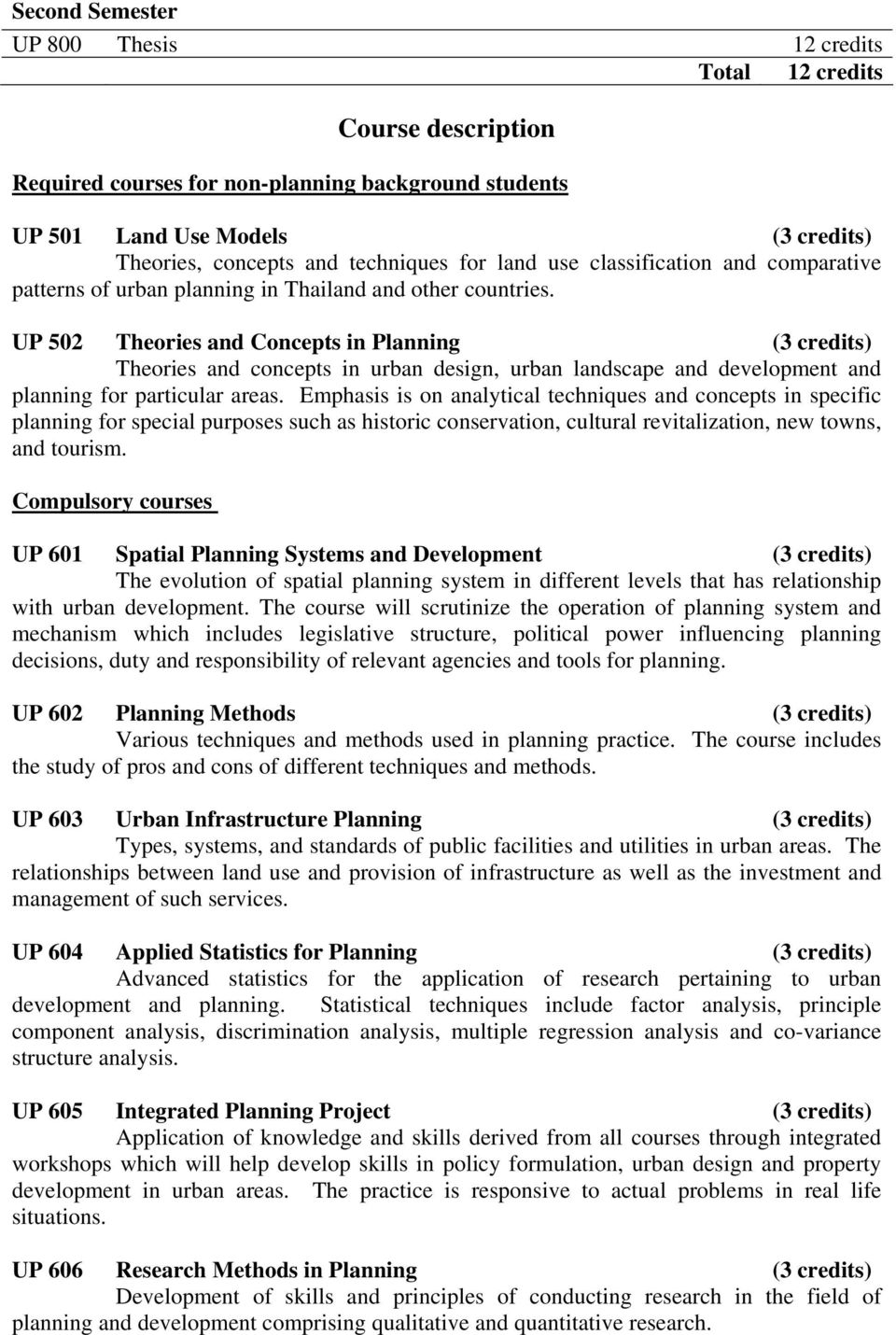 UP 502 Theories and Concepts in Planning () Theories and concepts in urban design, urban landscape and development and for particular areas.