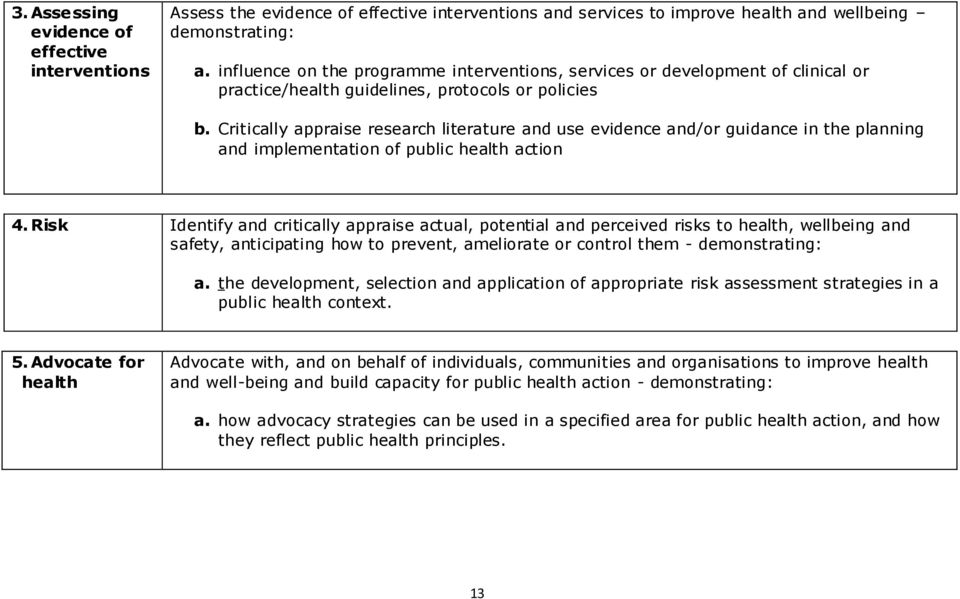 Critically appraise research literature and use evidence and/or guidance in the planning and implementation of public health action 4.