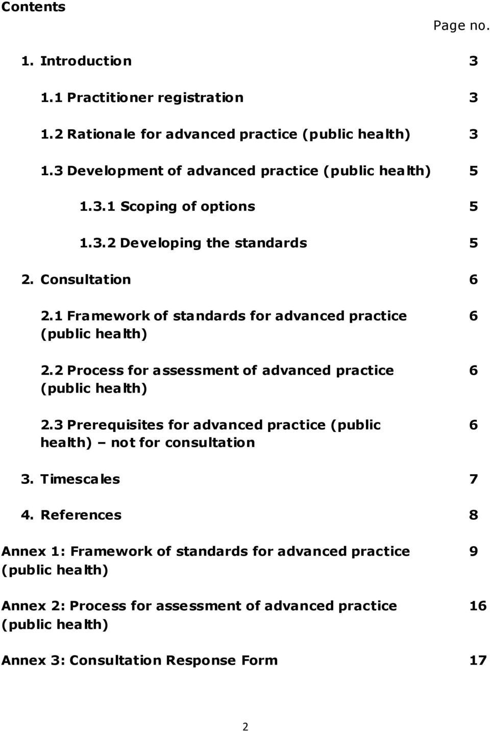 1 Framework of standards for advanced practice 6 (public health) 2.2 Process for assessment of advanced practice 6 (public health) 2.