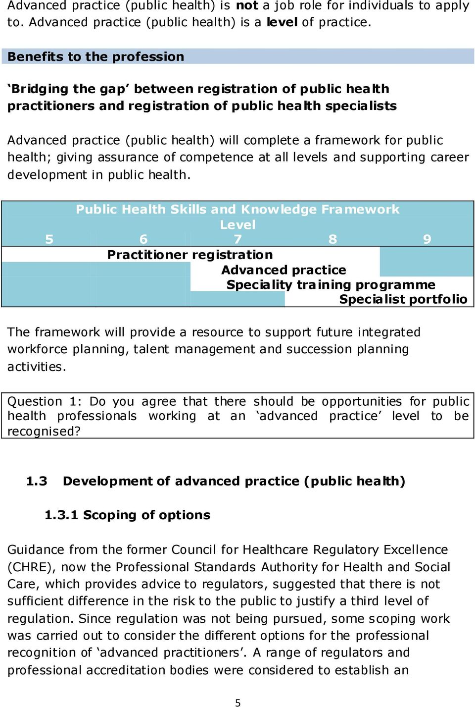framework for public health; giving assurance of competence at all levels and supporting career development in public health.