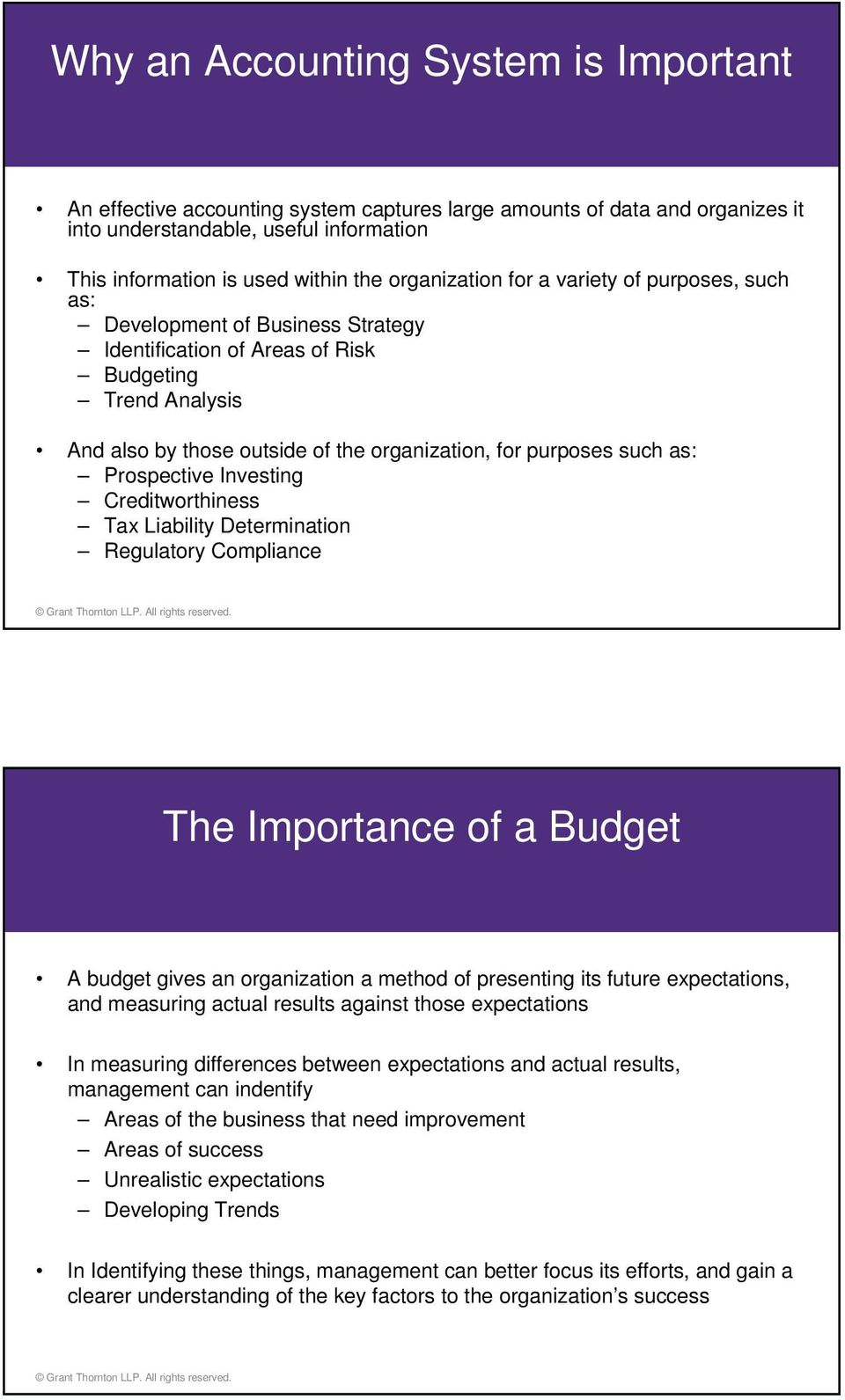 such as: Prospective Investing Creditworthiness Tax Liability Determination Regulatory Compliance The Importance of a Budget A budget gives an organization a method of presenting its future