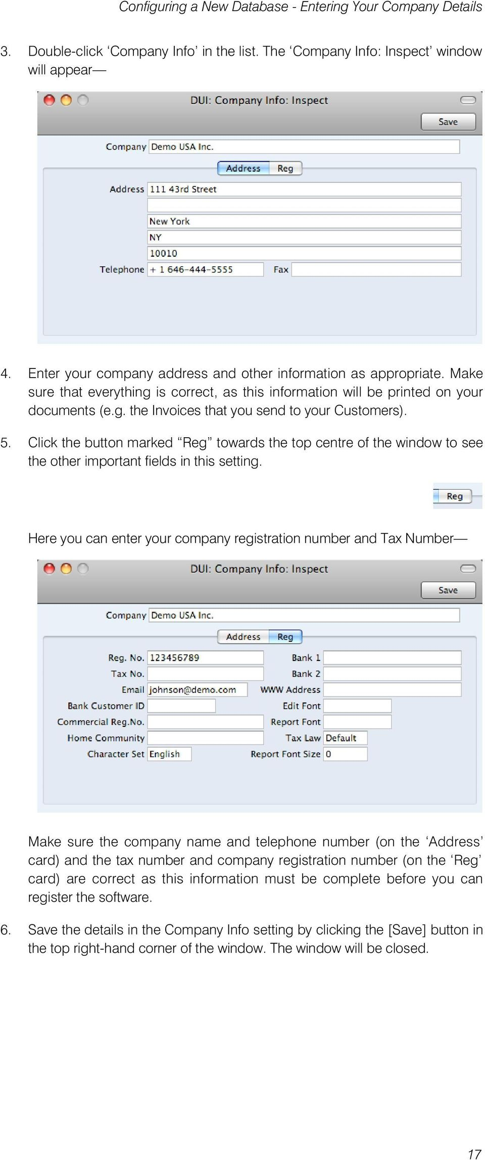 5. Click the button marked Reg towards the top centre of the window to see the other important fields in this setting.