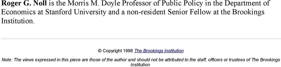 non-resident Senior Fellow at the Brookings Institution.