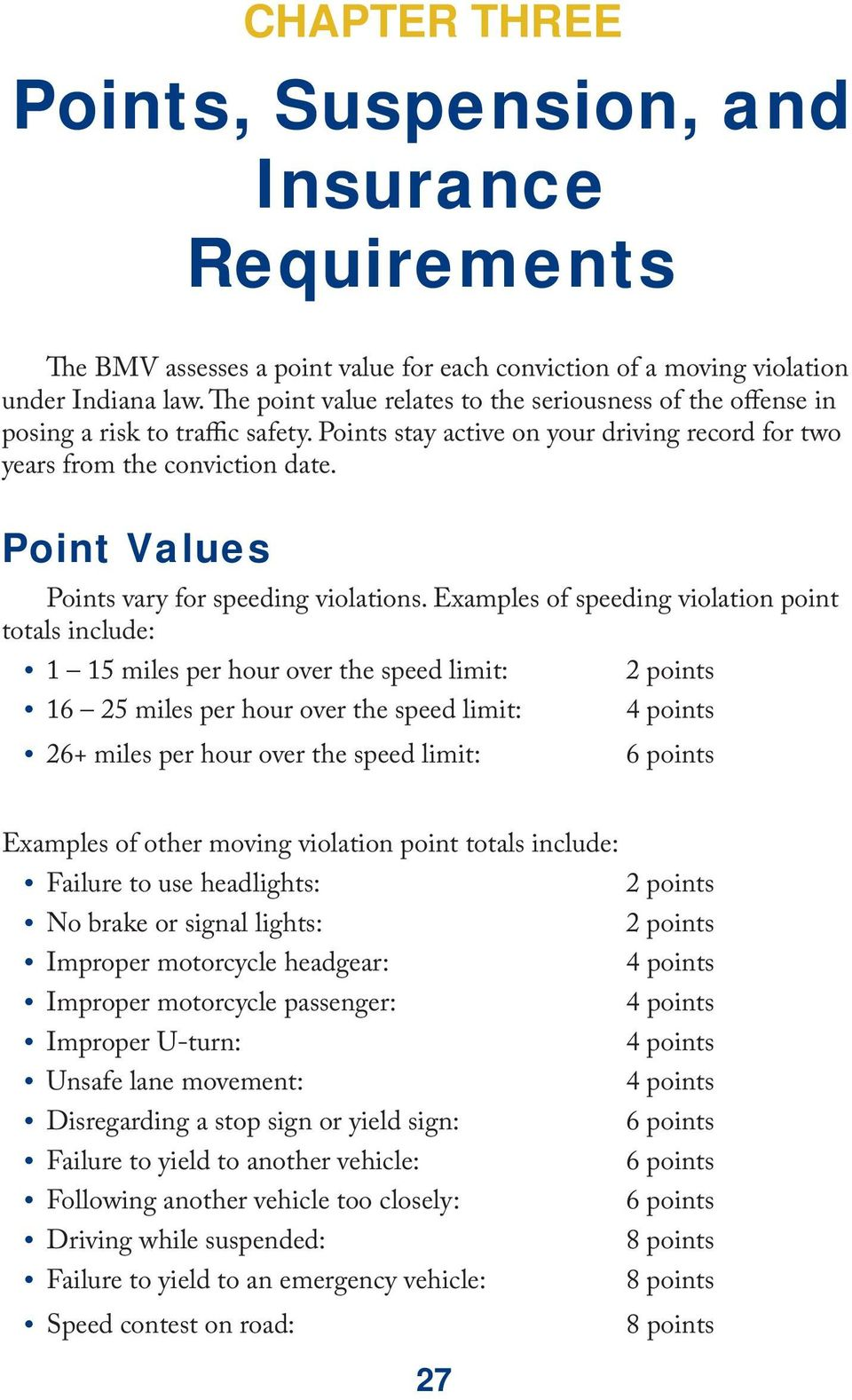 Point Values Points vary for speeding violations.