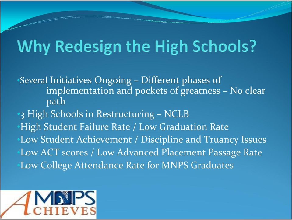 Rate / Low Graduation Rate Low Student Achievement / Discipline and Truancy Issues
