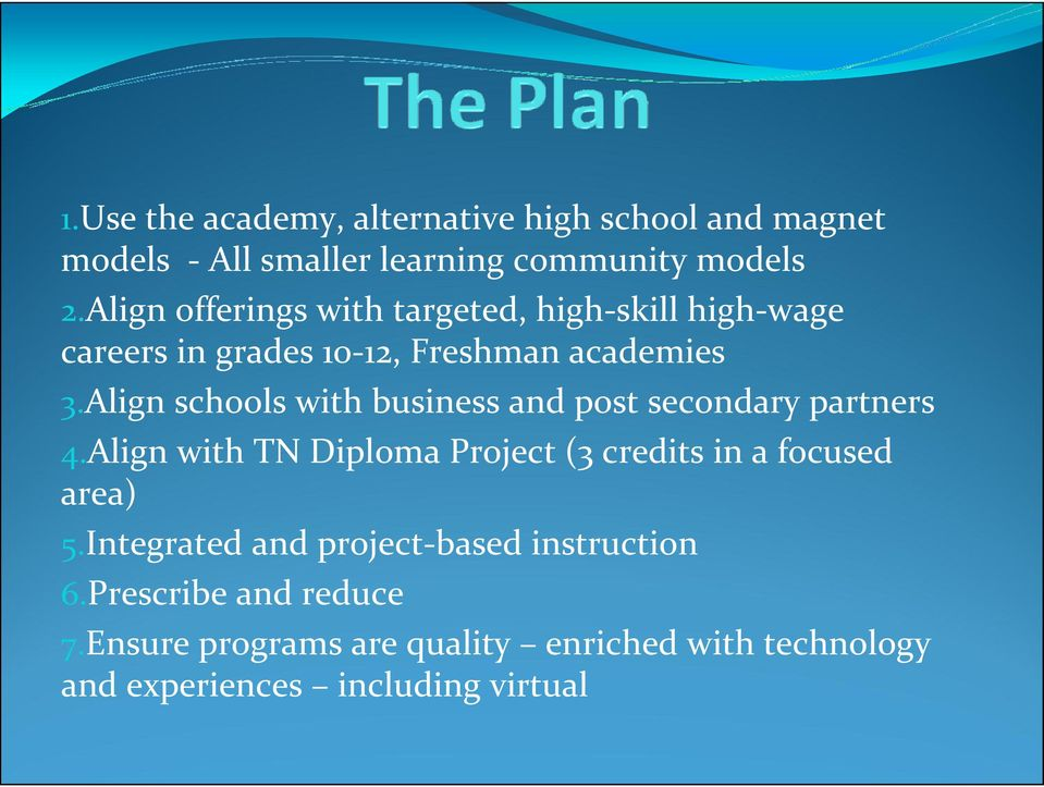Align schools with business and post secondary partners 4.