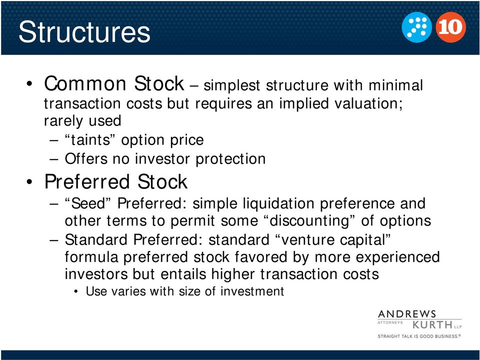 and other terms to permit some discounting of options Standard Preferred: standard venture capital formula preferred