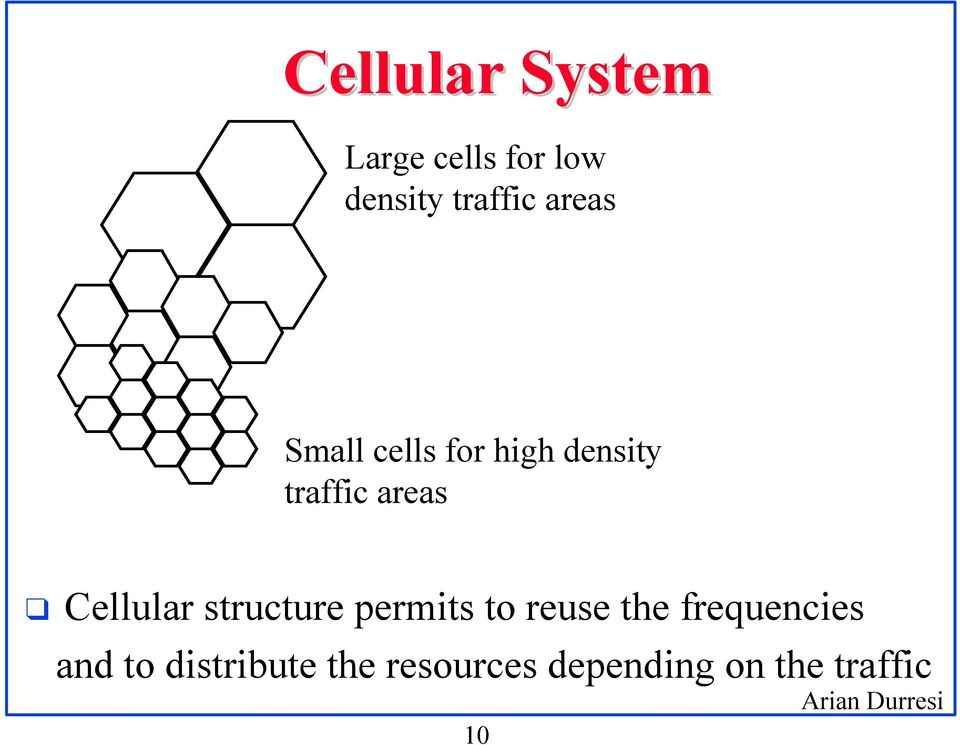Cellular structure permits to reuse the frequencies