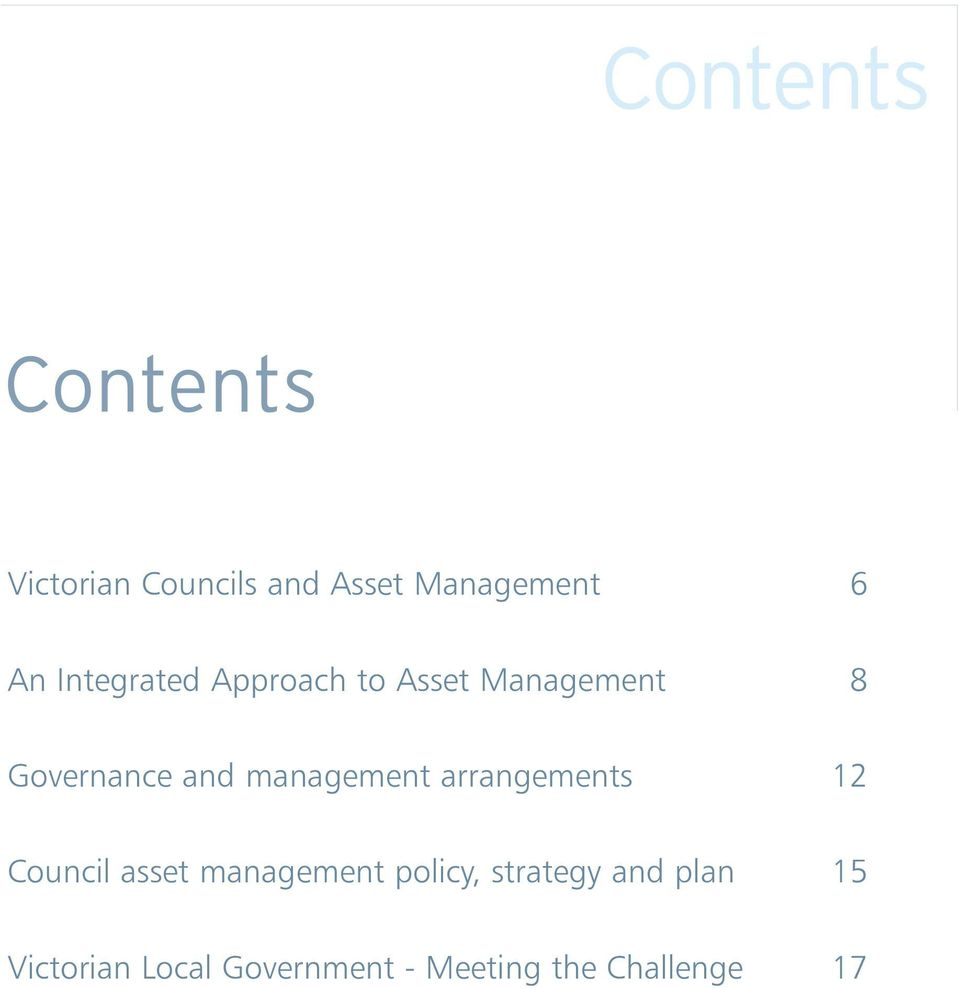 management arrangements 12 Council asset management policy,