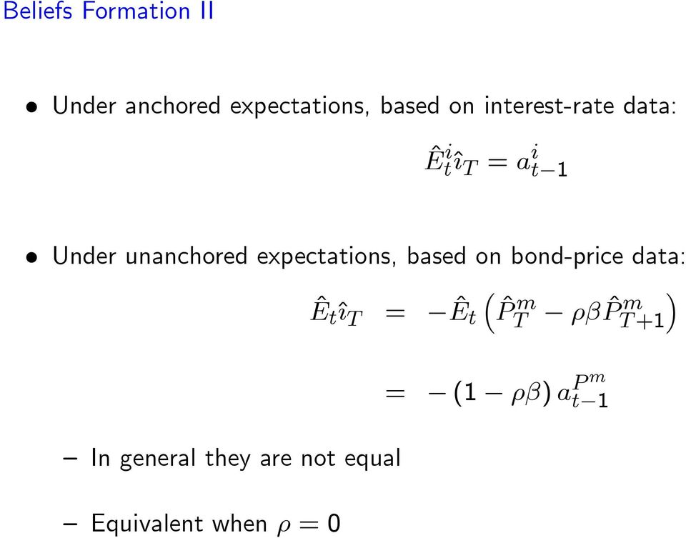 expectations, based on bond-price data: ^E t^{ T = ^E t ^P m T