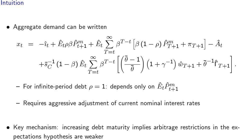 1 1 + 1 ^w T +1 + +1# 1^T : i ^A t For in nite-period debt = 1: depends only on ^E t ^P m t+1 Requires