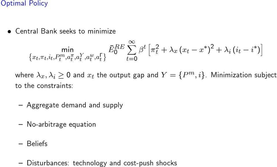 output gap and Y = fp m ; ig.