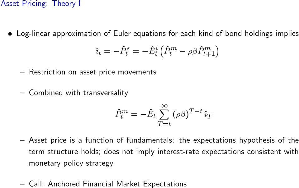 =t t ^{ T Asset price is a function of fundamentals: the expectations hypothesis of the term structure holds; does not