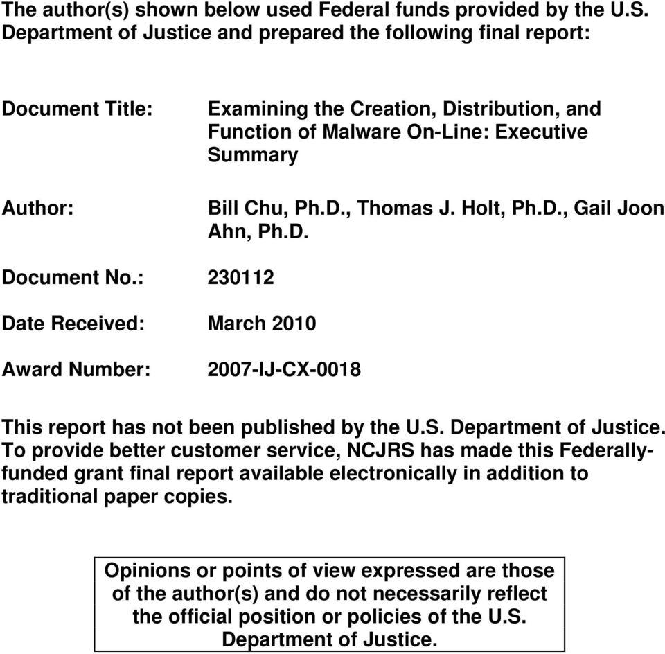 Holt, Ph.D., Gail Joon Ahn, Ph.D. Document No.: 230112 Date Received: March 2010 Award Number: 2007-IJ-CX-0018 This report has not been published by the U.S. Department of Justice.