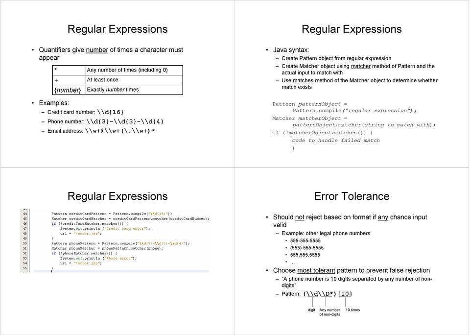 \\w+)* Regular Expressions Java syntax: Create Pattern object from regular expression Create Matcher object using matcher method of Pattern and the actual input to match with Use matches method of