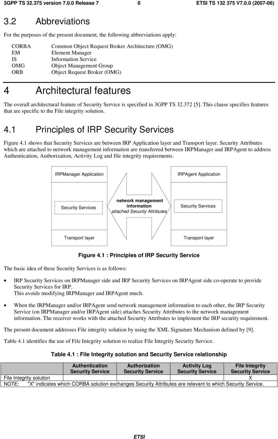Object Management Group Object Request Broker (OMG) 4 Architectural features The overall architectural feature of Security Service is specified in 3GPP TS 32.372 [5].