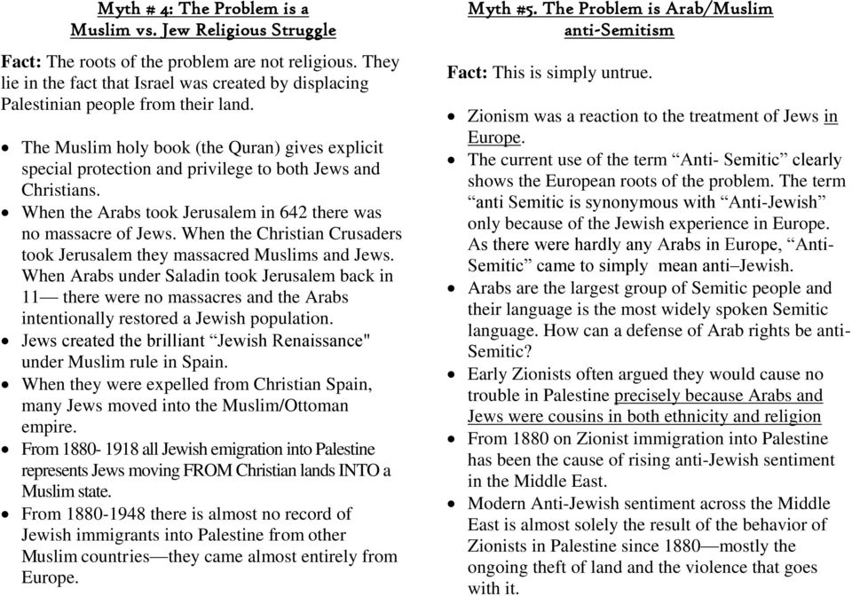 The Muslim holy book (the Quran) gives explicit special protection and privilege to both Jews and Christians. When the Arabs took Jerusalem in 642 there was no massacre of Jews.