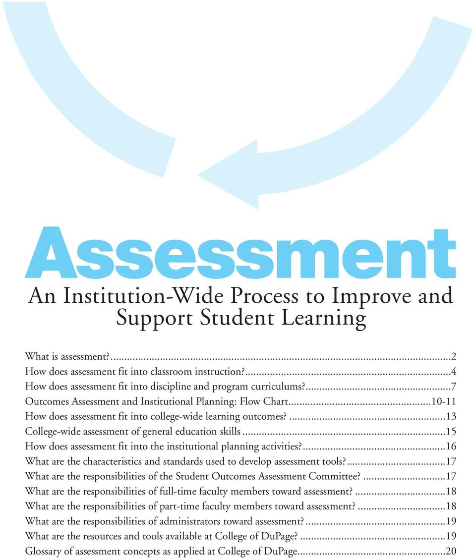 ...13 College-wide assessment of general education skills...15 How does assessment fit into the institutional planning activities?