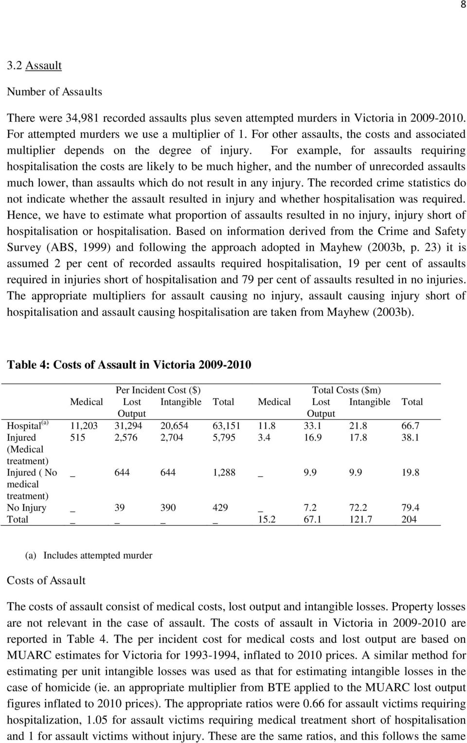 For example, for assaults requiring hospitalisation the costs are likely to be much higher, and the number of unrecorded assaults much lower, than assaults which do not result in any injury.