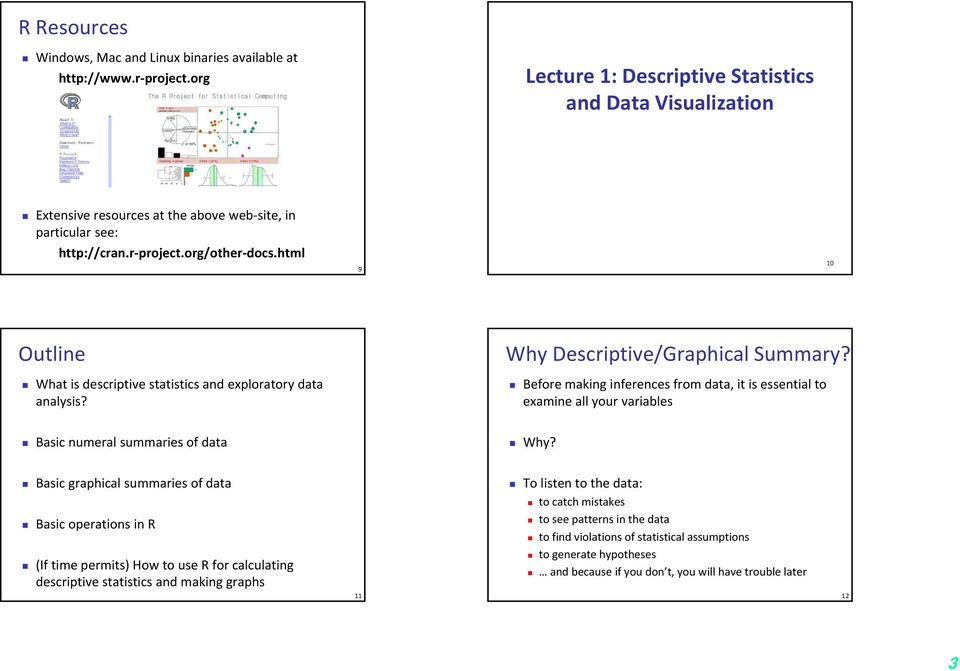 html 9 10 Outline What is descriptive statistics and exploratory data analysis? Why Descriptive/Graphical Summary?