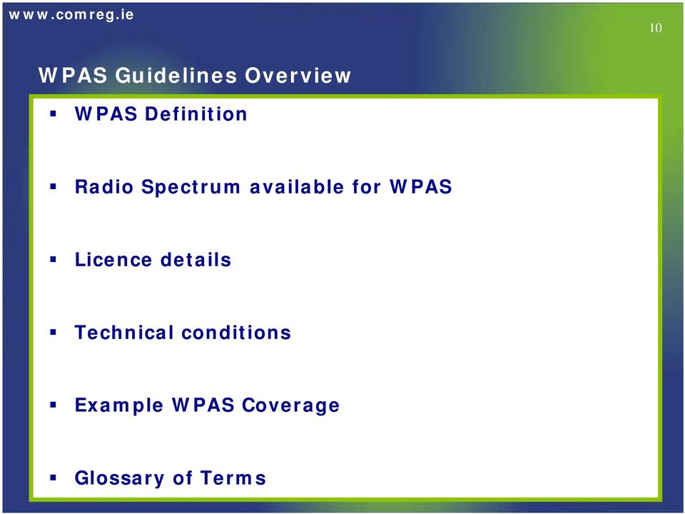 for WPAS Licence details Technical