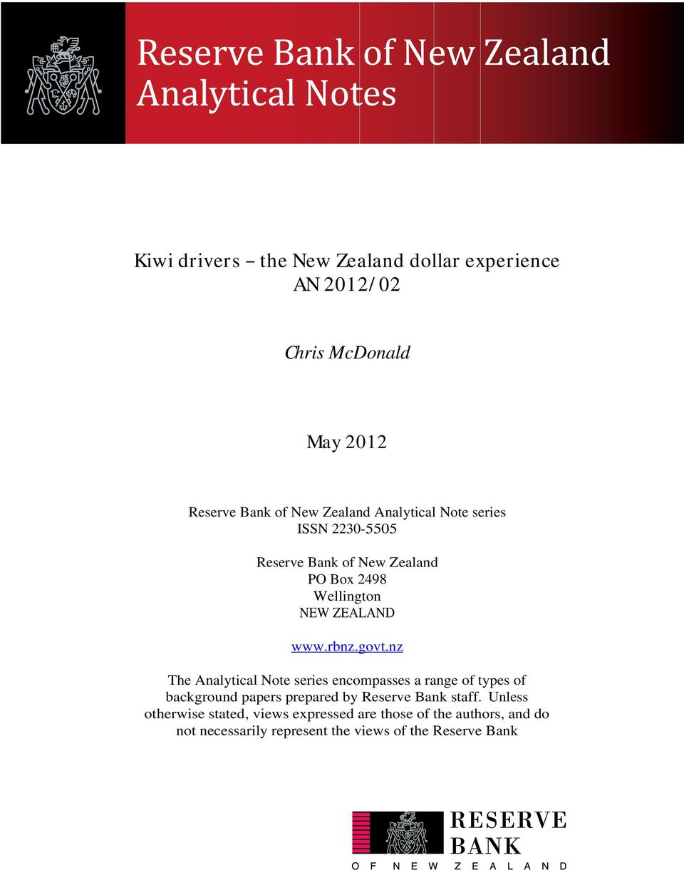 nz The Analytical Note series encompasses a range of types of background papers prepared by Reserve Bank staff.