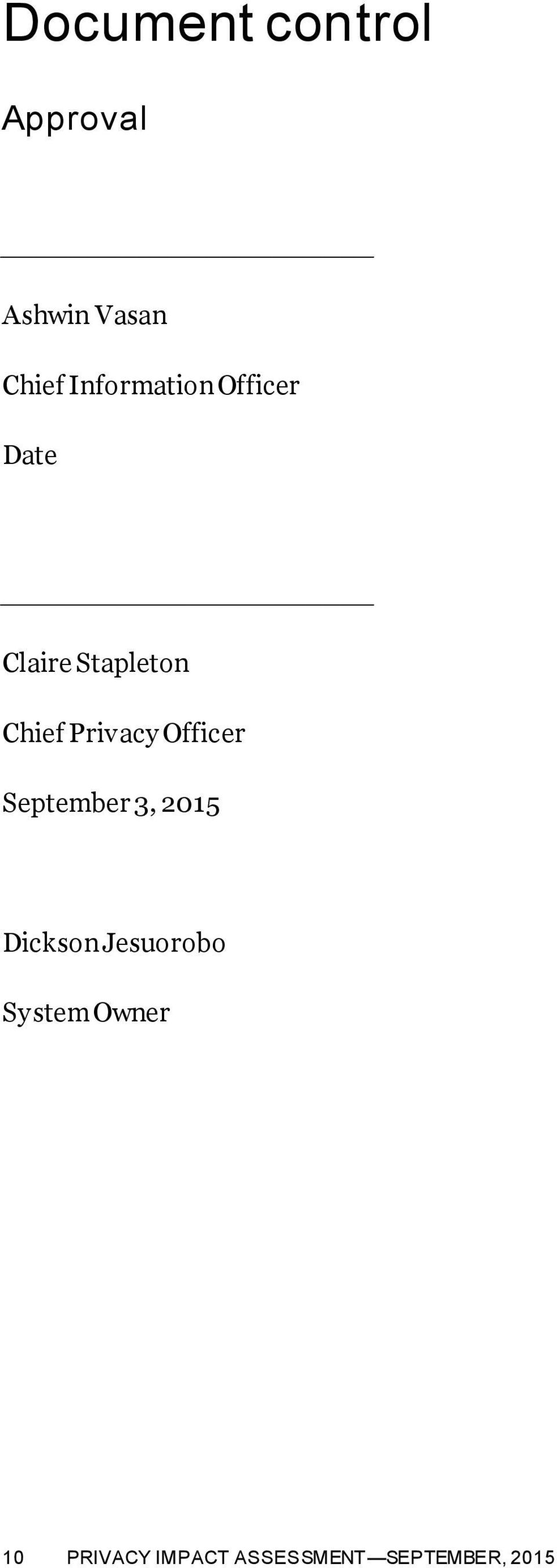 Privacy Officer September 3, 2015 Dickson