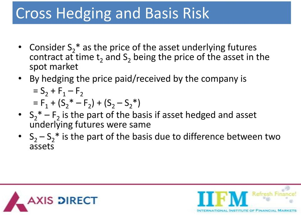 is = S 2 + F 1 F 2 = F 1 + (S 2 * F 2 ) + (S 2 S 2 *) S 2 * F 2 is the part of the basis if asset hedged