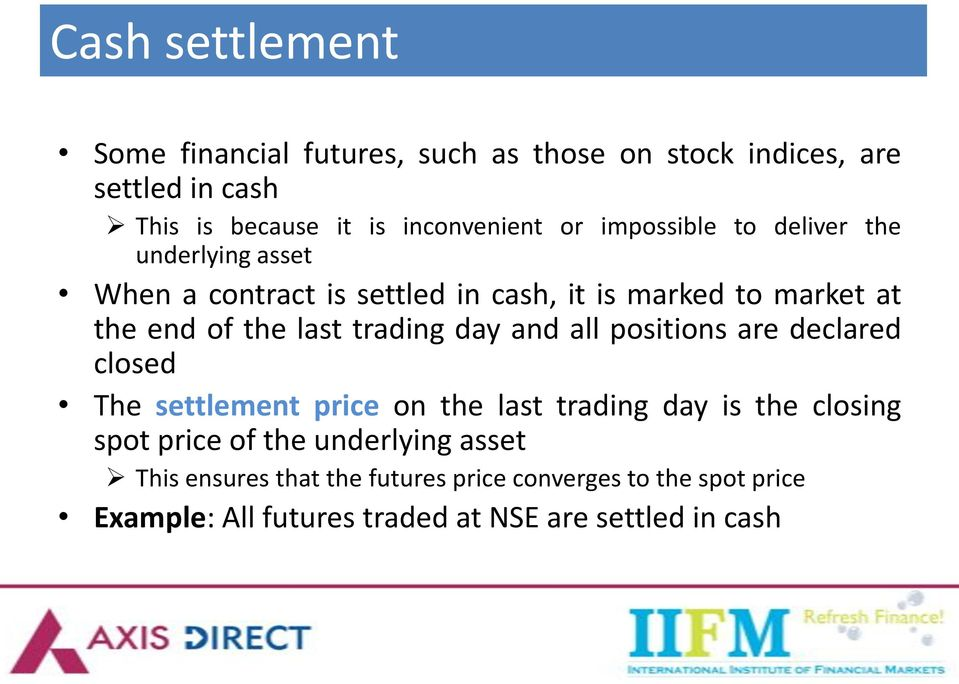 trading day and all positions are declared closed The settlement price on the last trading day is the closing spot price of the