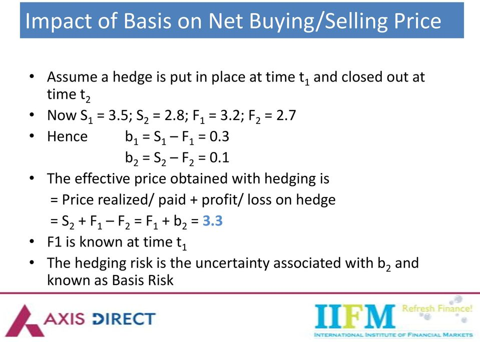 1 The effective price obtained with hedging is = Price realized/ paid + profit/ loss on hedge = S 2 + F 1 F