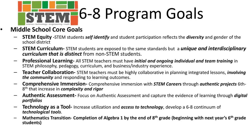Professional Learning All STEM teachers must have initial and ongoing individual and team training in STEM philosophy, pedagogy, curriculum, and business/industry experience.