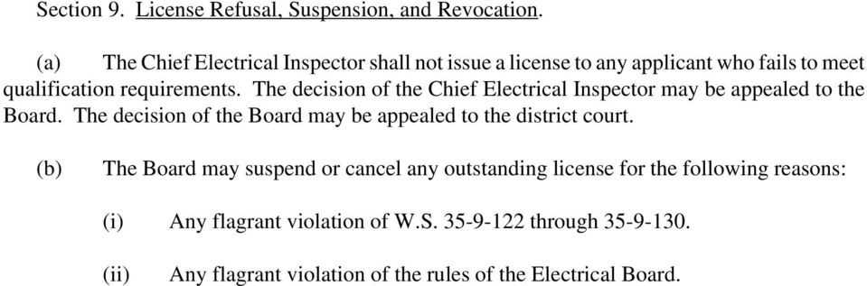 The decision of the Chief Electrical Inspector may be appealed to the Board.