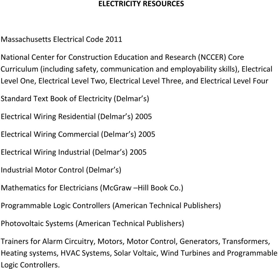 Mccann Technical High School Electricity Program Curriculum Grades Pdf Commercial Wiring Powerpoint Presentation Delmar S 2005 Electrical Industrial