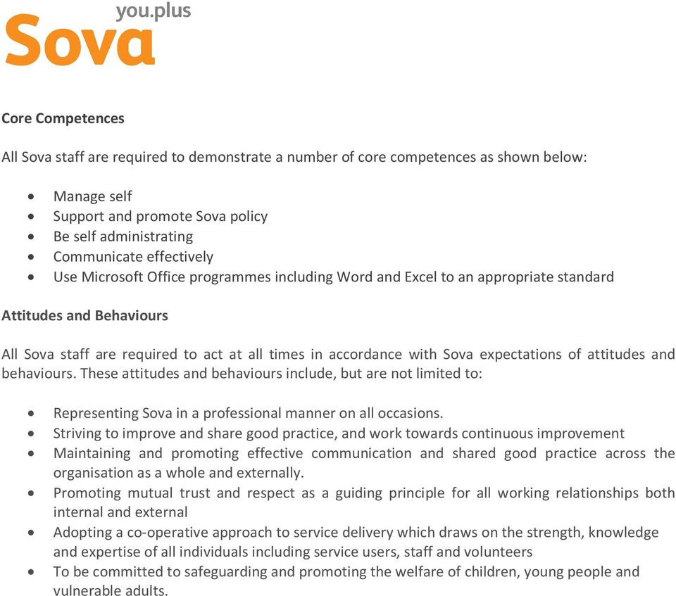 attitudes and behaviours. These attitudes and behaviours include, but are not limited to: Representing Sova in a professional manner on all occasions.