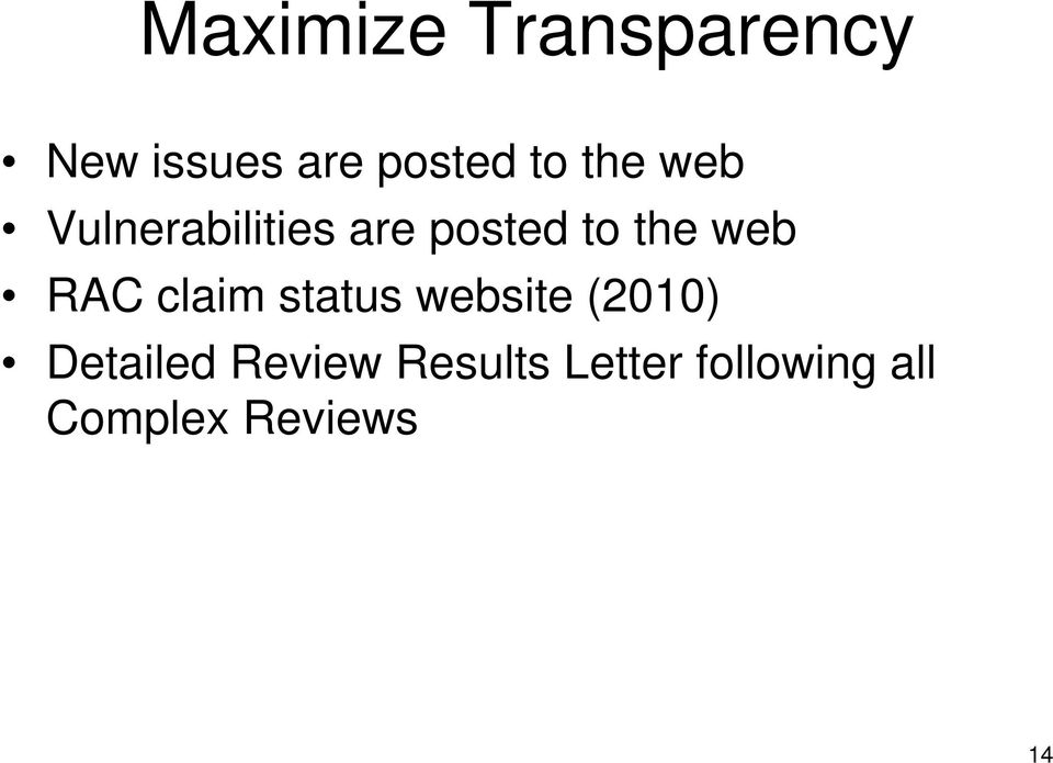 RAC claim status website (2010) Detailed