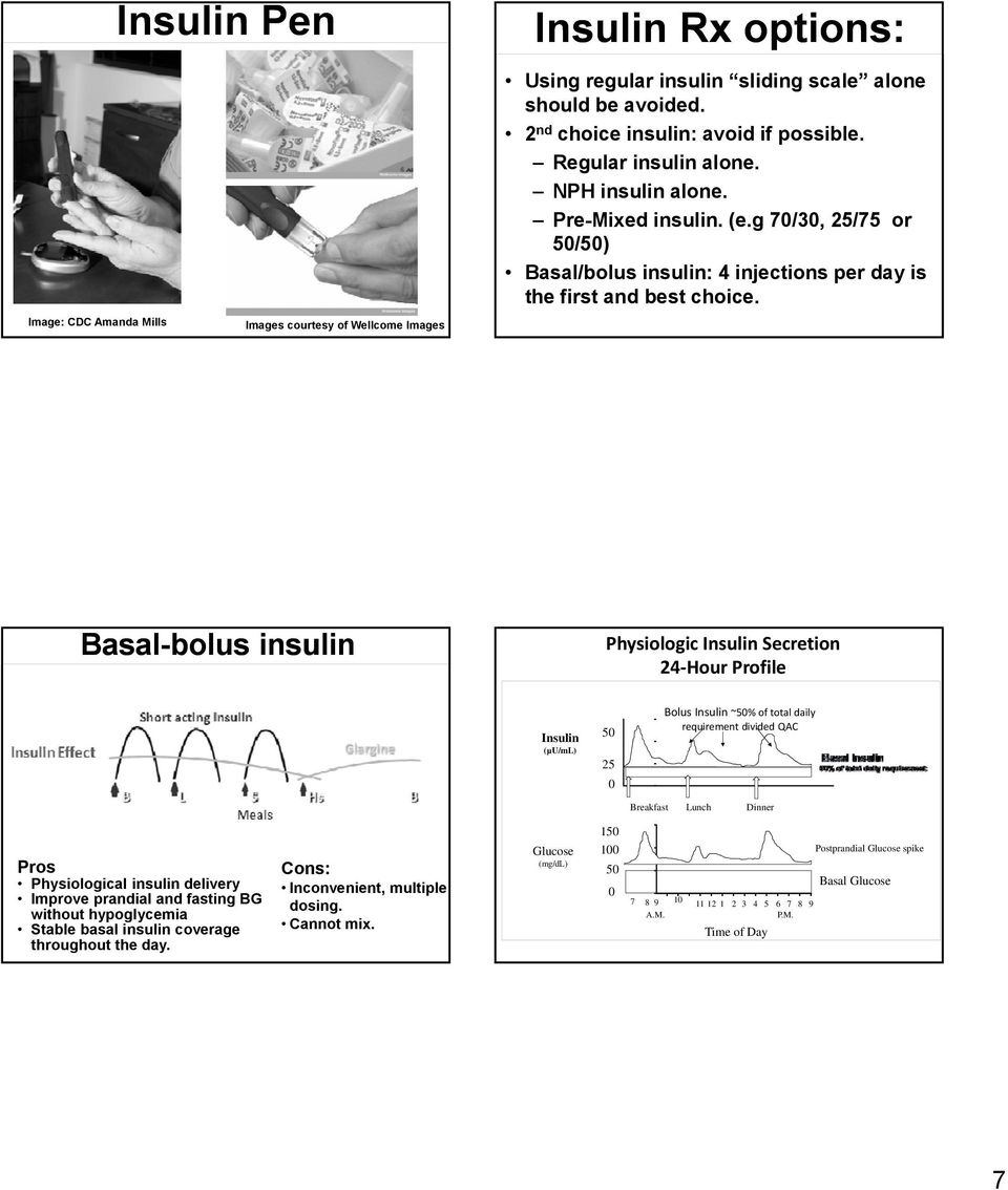 Basal-bolus insulin Physiologic Secretion 24 Hour Profile (µu/ml) 50 25 0 Bolus ~50% of total daily requirement divided QAC Breakfast Lunch Dinner Pros Physiological insulin delivery Improve prandial