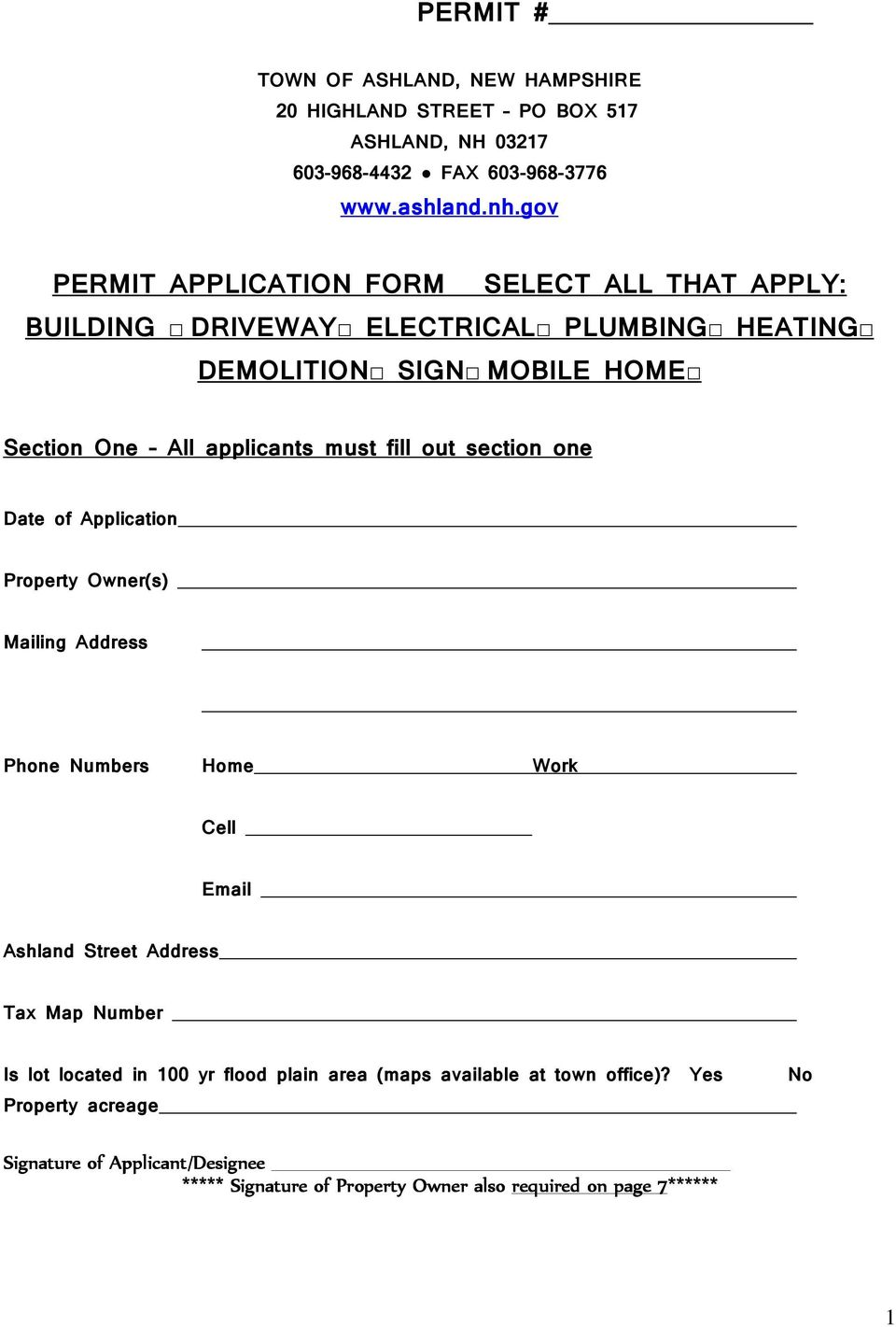 fill out section one Date of Application Property Owner(s) Mailing Address Phone Numbers Home Work Cell Email Ashland Street Address Tax Map Number Is lot