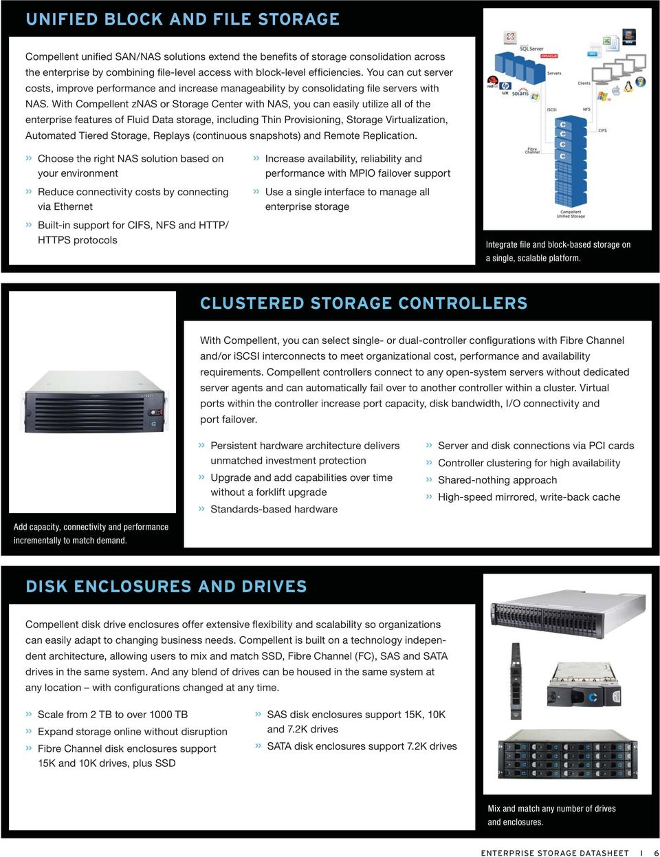 With Compellent znas or Storage Center with NAS, you can easily utilize all of the enterprise features of Fluid storage, including Thin Provisioning, Storage Virtualization, Automated Tiered Storage,